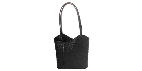 Dámska čierna kožená kabelka s reliéfnym vzorom Florence Bags