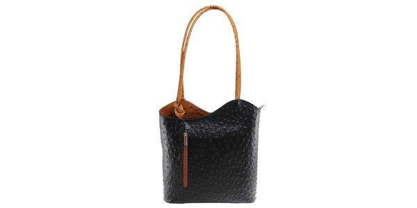 Dámska čierno-hnedá kožená kabelka s reliéfnym vzorom Florence Bags
