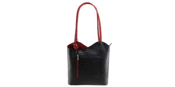 Dámska čierno-červená kožená kabelka s reliéfnym vzorom Florence Bags