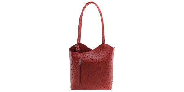 Dámska červená kožená kabelka s reliéfnym vzorom Florence Bags