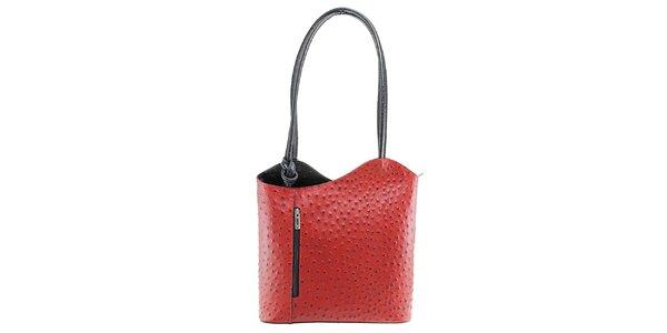 Dámska červeno-čierna kožená kabelka s reliéfnym vzorom Florence Bags