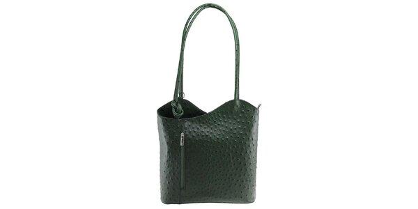 Dámska tmavo zelená kožená kabelka s reliéfnym vzorom Florence Bags