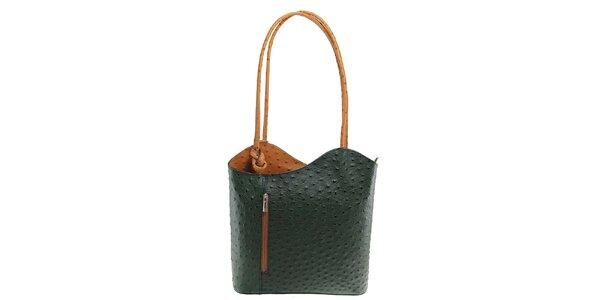 Dámska zeleno-béžová kožená kabelka s reliéfnym vzorom Florence Bags