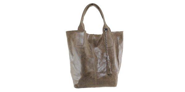 Dámska šedohnedá kožená kabelka so strapcom Florence Bags