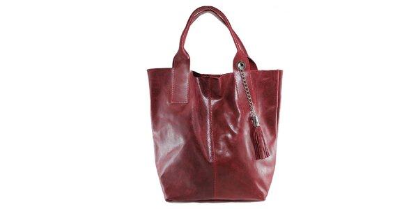 Dámska červená kožená kabelka so strapcom Florence Bags