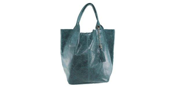 Dámska zelená kožená kabelka so strapcom Florence Bags