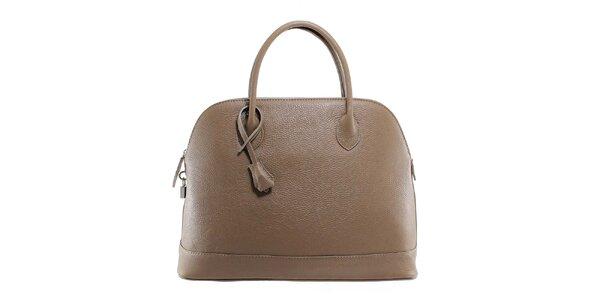Dámska šedohnedá kožená kabelka s odnímateľným popruhom Florence Bags