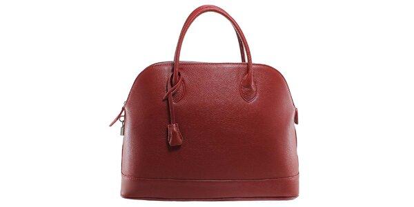 Dámska červená kožená kabelka s odnímateľným popruhom Florence Bags