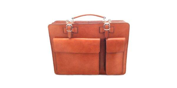 Hnedá kožená aktovka Florence Bags