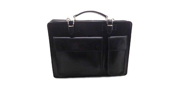 Čierna kožená aktovka Florence Bags