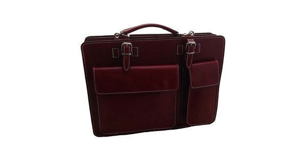 Červená kožená aktovka Florence Bags