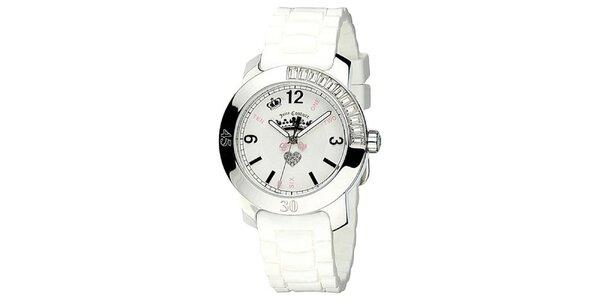 Dámske hodinky s bielym silikónovým remienkom Juicy Couture