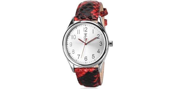 Dámske analógové hodinky s červeným koženým remienkom Juicy Couture