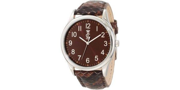 Dámske analógové hodinky s hnedým koženým remienkom Juicy Couture