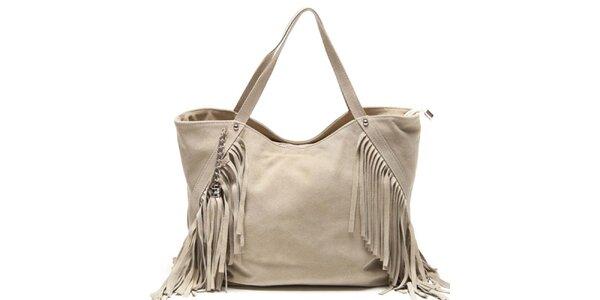 Dámska béžová kabelka so strapcami Luisa Vannini