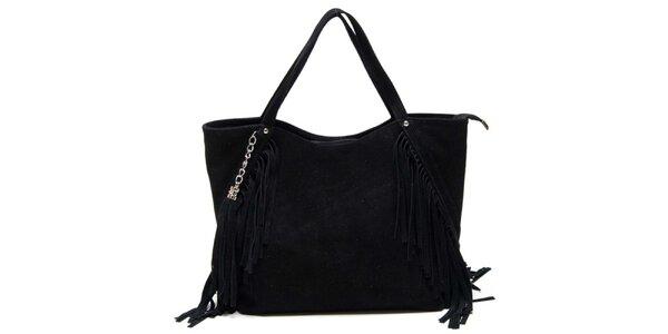 Dámska čierna kabelka so strapcami Luisa Vannini