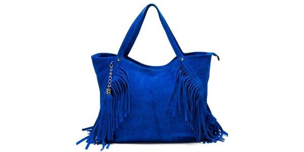 Dámska modrá kabelka so strapcami Luisa Vannini