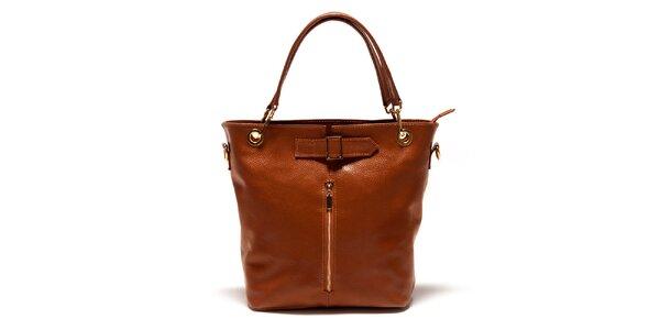 Dámska koňaková kabelka so zipsom Luisa Vannini