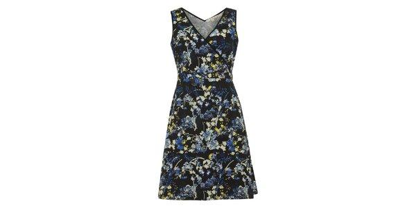 Dámske čierne šaty s farebnými kvetinami Uttam Boutique