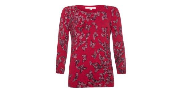 Dámsky malinový sveter s motýlikmi Uttam Boutique