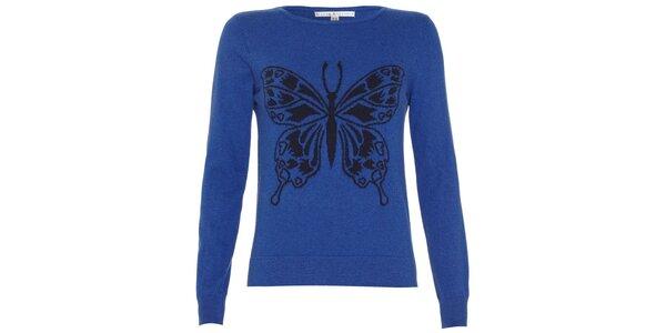 Dámsky sýto modrý svetrík s motýlikom Uttam Boutique