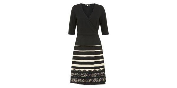 Dámske čierne zavinovacie šaty s pruhovanou sukňou Uttam Boutique