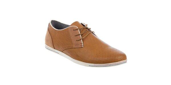 Pánske hnedé perforované topánky Tesoro