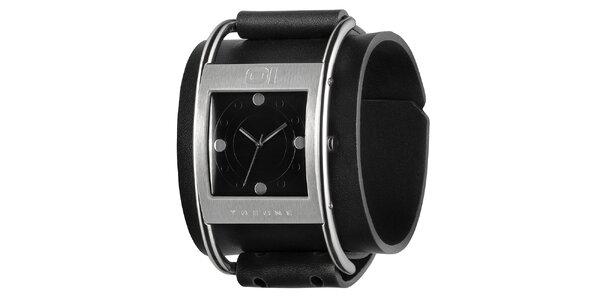 Pánske čierne náramkové hodinky s hranatým ciferníkom The One