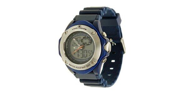 Modré hodinky s digitálnym ciferníkom Tom Tailor