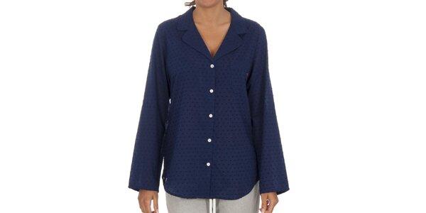 Dámska modrá bodkovaná pyžamová košeľa Tommy Hilfiger