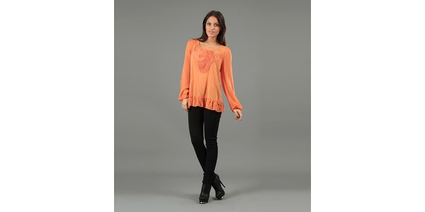 Dámska oranžová blúzka s dlhými rukávmi Anabelle