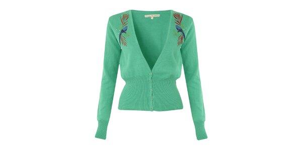 Dámsky zelený svetrík s modrými vtáčikmi Uttam Boutique