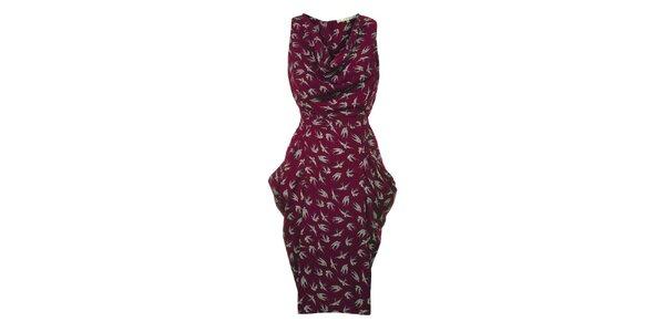 Dámske vínové šaty s vtáčikmi Uttam Boutique