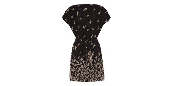 Dámske čierne šaty s vtáčikmi Uttam Boutique