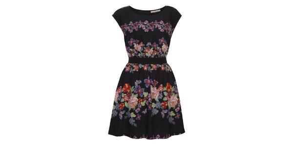 Dámske čierne šaty s farebnými kvetmi Uttam Boutique