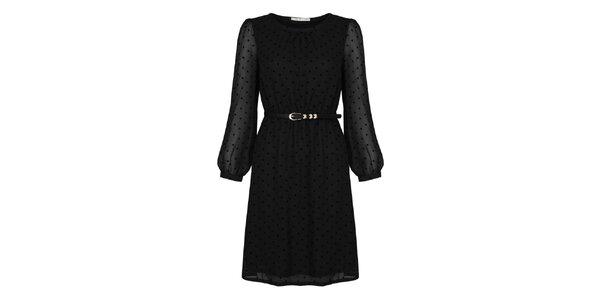 Dámske čierne šaty s bodkami Uttam Boutique