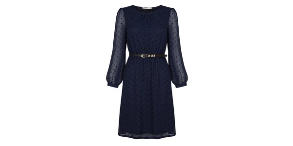 Dámske tmavo modré šaty s bodkami Uttam Boutique