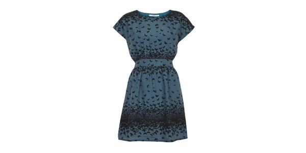 Dámske petrolejové šaty s vtáčikmi Uttam Boutique
