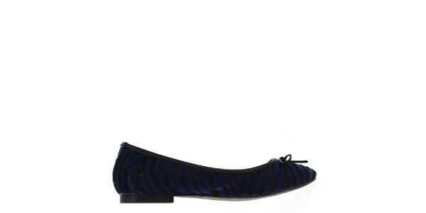 Dámske chlpaté čierno-modré balerínky Shoes and the City