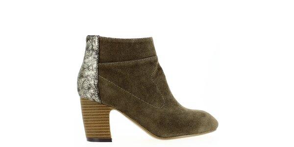 Dámske khaki členkové topánky s trblietavou pätou Shoes and the City