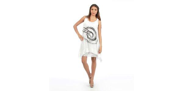 Dámske biele šaty s veľkou potlačou Anabelle