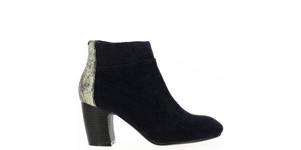 Dámske tmavomodré členkové topánky s trblietavou pätou Shoes and the City