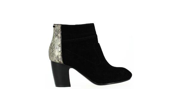 Dámske čierne členkové topánky s trblietavou pätou Shoes and the City