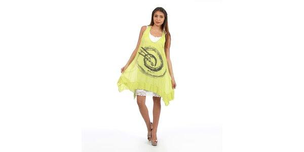 Dámske zeleno žlté šaty s veľkou potlačou Anabelle