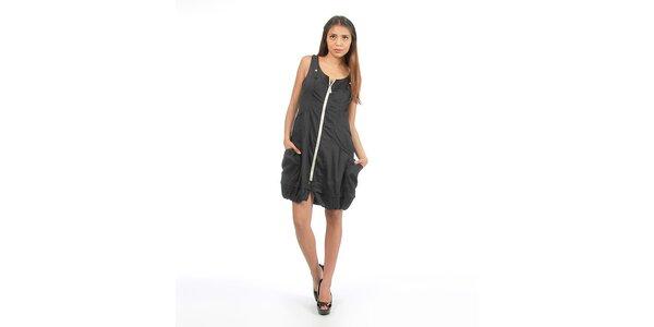 Dámske čierne šaty na zips Anabelle