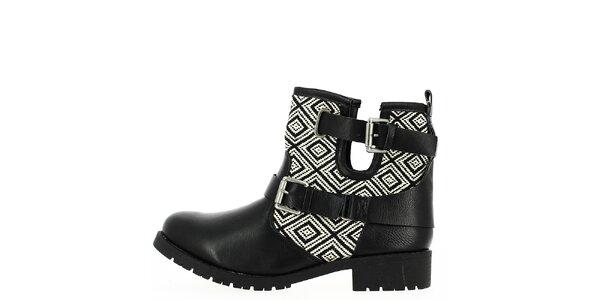 Dámske čierno-biele vzorované topánky Shoes and the City