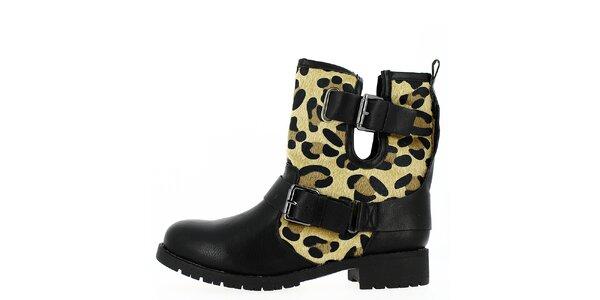 Dámske čierne topánky s prackami a zvieracím vzorom Shoes and the City