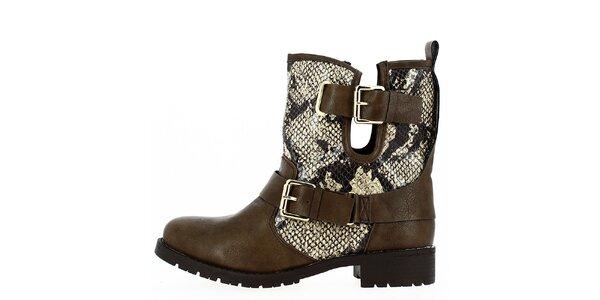 Dámske hnedé topánky s prackami a hadím vzorom Shoes and the City