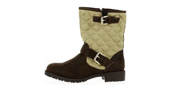 Dámske hnedo-béžové prešívané topánky na zips Shoes and the City