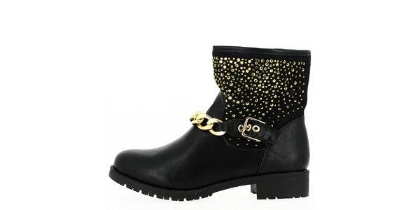 Dámske členkové čierne topánky so zlatými prvkami a retiazkou Shoes and the City